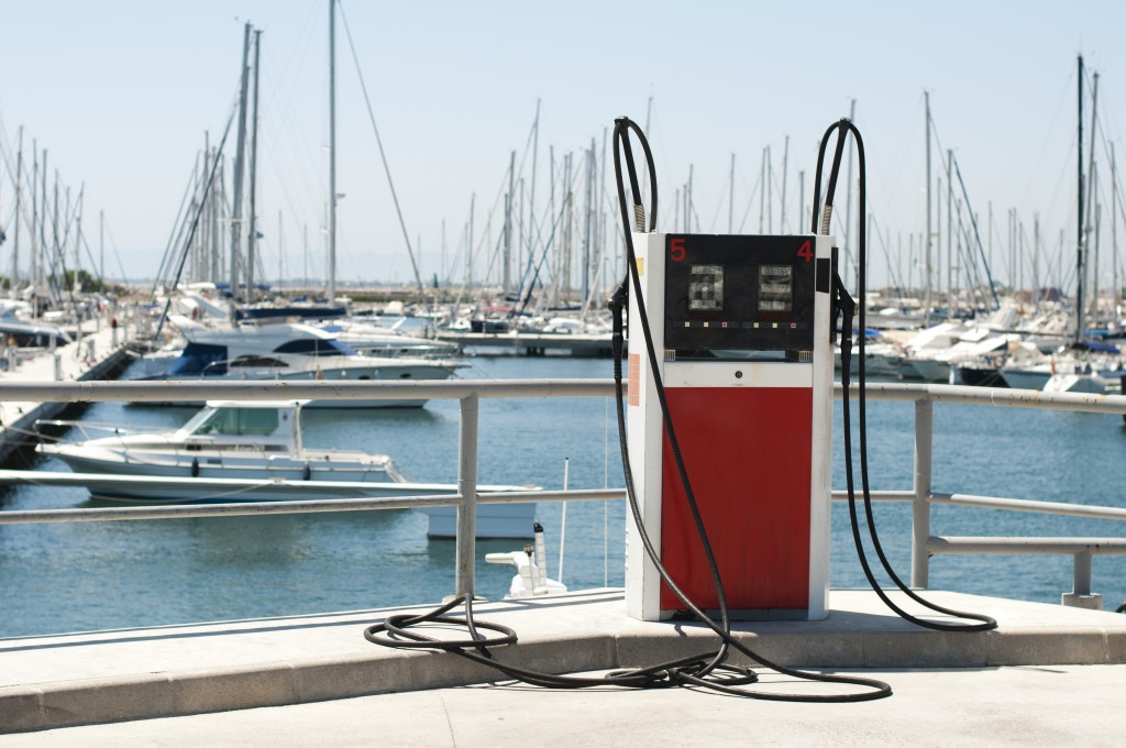 Marina petrol station. Yachts and gas dispenser