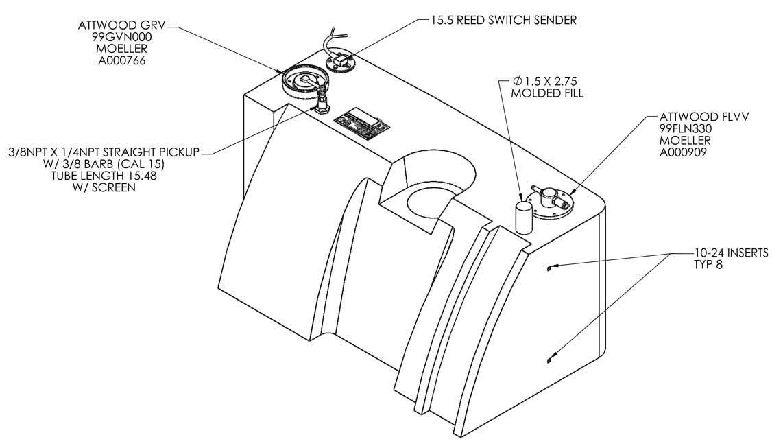 30 gallon epa redi tank  u2013 permanent below deck fuel tank