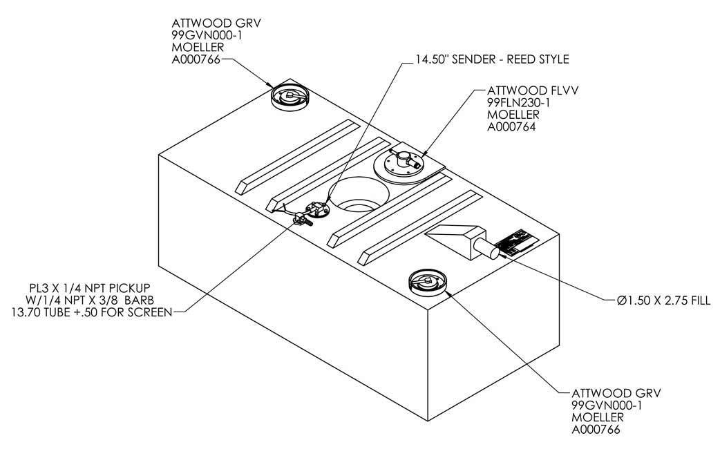 51 Gallon EPA Redi Tank – Permanent Below Deck Fuel Tank – Tall Flat |