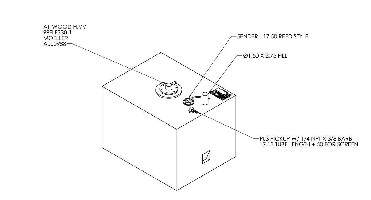 33 Gallon EPA Redi Tank – Permanent Below Deck Fuel Tank – Cube |